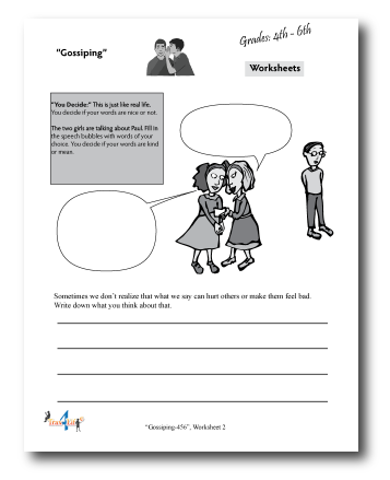 Gossiping Worksheet Grades 4-5-6-