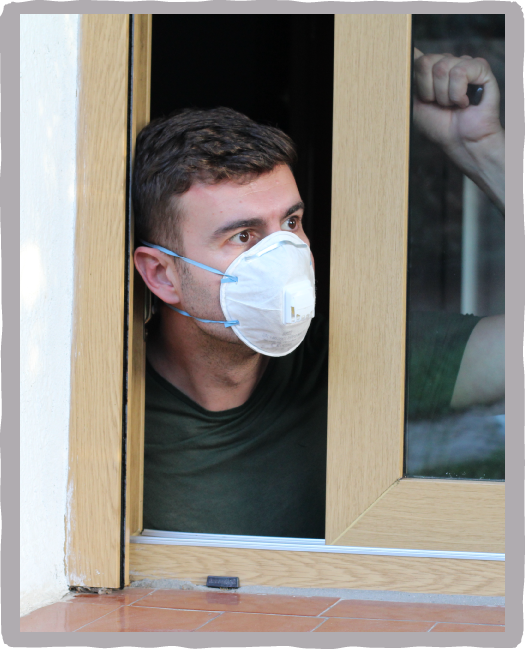 Fearful man with pandemic mask