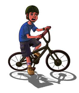 Ryan on his bicycle
