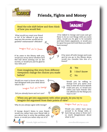 Friends Fight and Money Worksheet