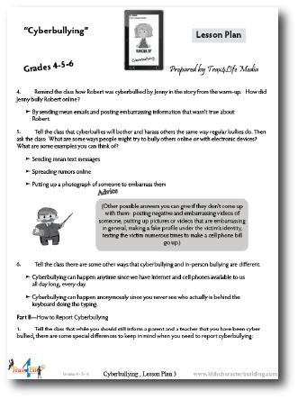 Cyberbullying 456 Lesson Plan