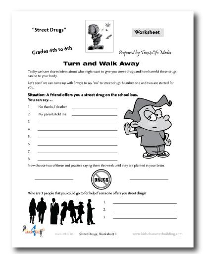 Worksheet on street drugs