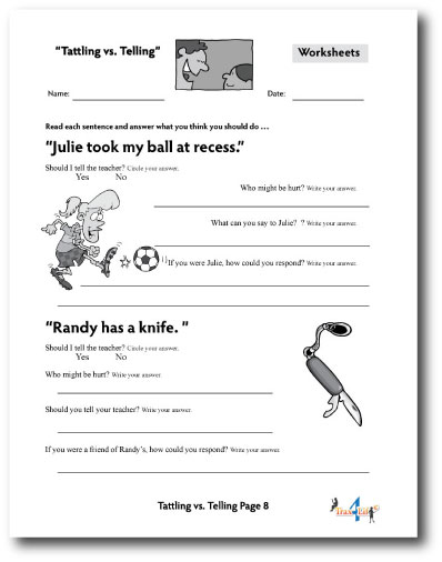 Tattling vs Telling Worksheet