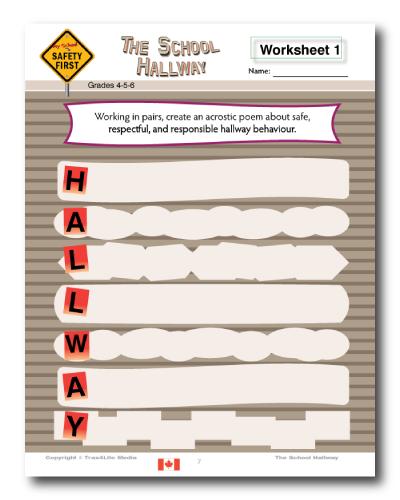 School hallway Safety Worksheet