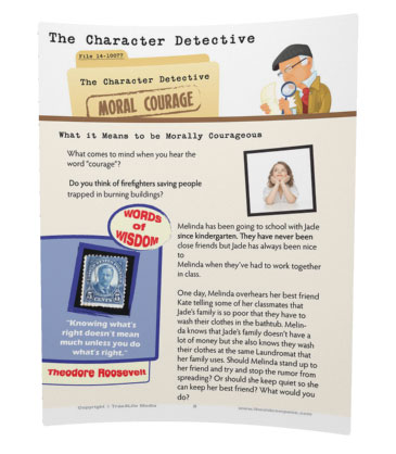 moral courage activity sheets for kids